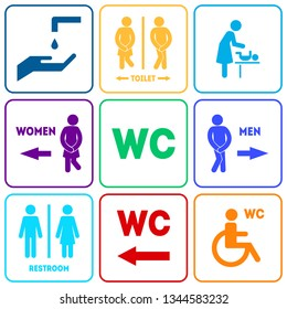 WC Sign for Restroom Color Set Include of Public Toilet for Male and Female Gender Symbols. Vector illustration of Information Signage