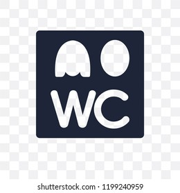 Wc sign transparent icon. Wc sign symbol design from Traffic signs collection. Simple element vector illustration on transparent background.