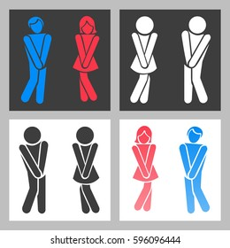 WC sign. Vector funny boy and girl toilet icons or female and male bathroom symbols. Emblems for toilet illustration