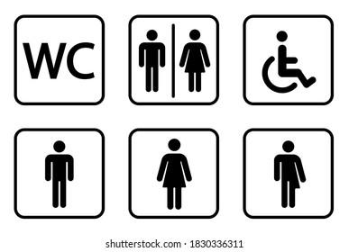 WC signs set.Toilet icons set.Wc piktogramm. WC Symbole. Lady and gentleman restroom symbol.Vector illustration