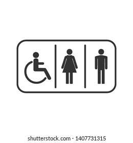 WC symbol, toilet, people icon. Vector illustration, flat design.