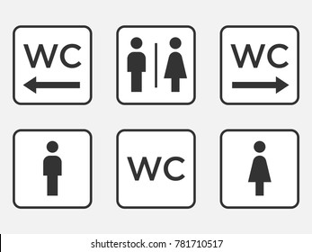 wc symbol. vector toilet icon. men and women wc sign