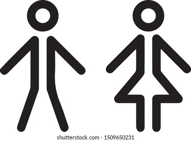 Wc Symbol woman and man vector icon