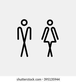 WC / Toilet door plate icon. Men and women WC sign for restroom. Bathroom plate.