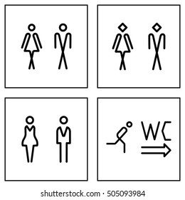 WC / Toilet door plate icon set. Men and women WC line sign for restroom.