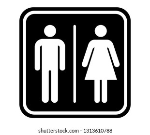wc toilet door plate icons. men and women sign for restroom. flat vector illustration symbols black white color