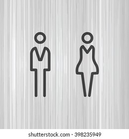 WC / Toilet door plate. Men and women sign for restroom.