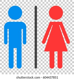 WC, toilet flat vector icon . Men and women sign for restroom on isolated  background.