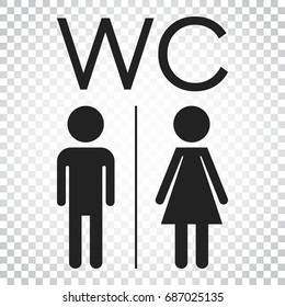 WC, toilet flat vector icon . Men and women sign for restroom on isolated background. Simple business concept pictogram.