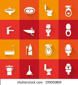Wc ,Toilet icon 2 ( long Shadow )