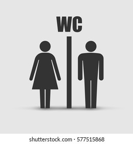 WC toilet icon vector illustration isolated on grey background.