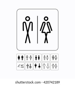 WC / Toilet icons set. Men and women signs for restroom. WC symbol.