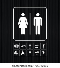 WC / Toilet icons set. Men and women WC signs for restroom. WC direction arrow symbol  vector illustration.