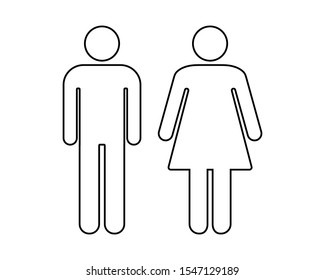 Wc toilette icon symbol. Male female. Gender lady. Vector illustration image. Isolated on white background.