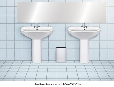 WC washroom and white porcelain sink. Public restroom Interior with ceramic washbasins. Front view and wall mount. Vector Illustration.