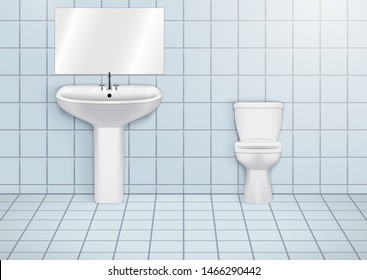 WC washroom with white porcelain sink and urinal. Public restroom Interior with ceramic washbasins and toilet. Front view and wall mount. Vector Illustration