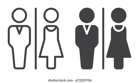 WC, Water closet icon, line and solid version, outline and filled vector sign, linear and full pictogram isolated on white. Man and Woman toilet symbol, logo illustration