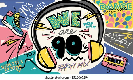 We are 90's, nineties. Music mix. Retro style party invitation card. Fashion background. 80's, eighties graphic. Pop music party. Vintage poster, banner. Aesthetic graphic  design. Audio Cassette.
