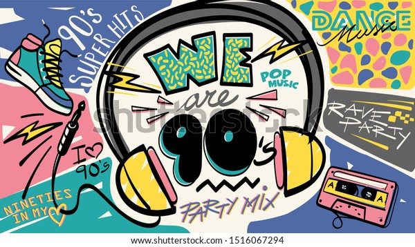 We 90s Nineties Music Mix Retro Stock Vector Royalty Free 1516067294