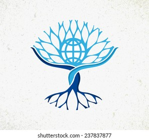 We all are one concept tree. Community management with Earth globe, roots and branches icon illustration. EPS10 vector file organized in layers for easy editing.