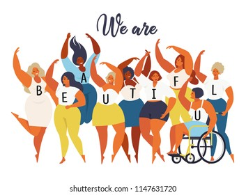 We are beautiful. International womens day graphic in vector.