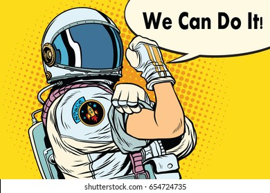 we can do it astronaut. Cosmonaut gesture. Pop art retro vector illustration
