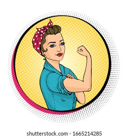 We Can Do It comic woman. Pop art sexy strong girl in a circle on white background. Classical american symbol of female power, women rights, feminism. Vector colorful illustration in retro style.