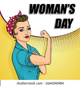 We Can Do It girl. Womens symbol of female power, woman rights, feminism or protest. Doodle cartoon character in comic style.