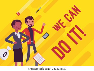 We can do it. Business motivation poster. Young office workers, entrepreneur encourages staff to give their best. Vector flat style cartoon illustration on yellow background