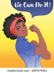 We can do it! Design inspired by classic feminist poster.  Woman empowerment. Vector Illustration in cartoon style. African American girl with her fist raised up. International women day concept.