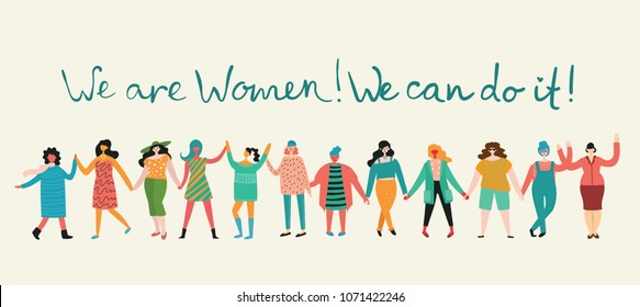 We can do it. Feminine concept and woman empowerment design for banners