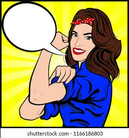 We Can Do It. Iconic woman's Symbol of female power and industry. Cartoon woman with can do attitude.  Girl hero, Retro Vintage comic Pop Art - Vector