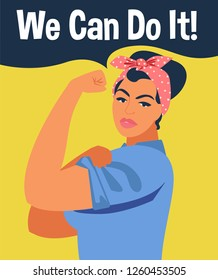 We Can Do It. Iconic woman's fist/symbol of female power and industry. Feminism concept - we can do it - girl showing fist - symbol of female power and woman rights