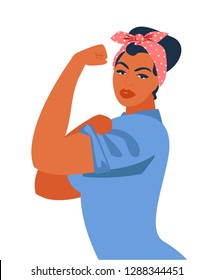 We Can Do It. Iconic woman's symbol of female power and industry. Feminism concept we can do it girl showing fist symbol of female power and woman rights.