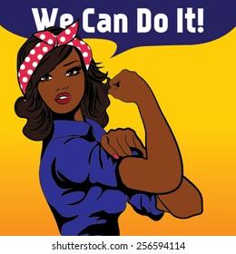 We Can Do It. Iconic woman's fist/symbol of female power and industry. cartoon black woman with can do attitude.