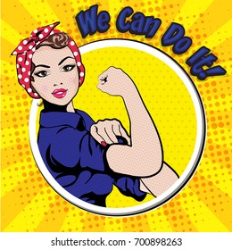 We Can Do It. Iconic woman's fist/symbol of female power and industry. cartoon woman with can do attitude.