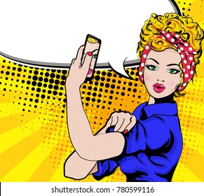 We Can Do It. Iconic woman's with phone. Symbol of female power and industry. cartoon woman with can do attitude.