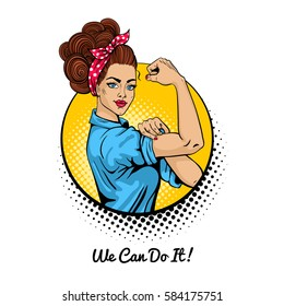 We Can Do It. Pop art sexy strong girl in a circle on white background. Classical american symbol of female power, woman rights, protest, feminism. Vector colorful illustration in retro comic style.