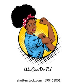 We can do it. Pop art sexy strong african girl in a circle on white background. Classical american symbol of female power, woman rights, protest, feminism. Vector illustration in retro comic style.