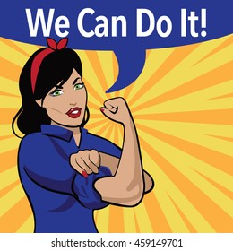 We Can Do It. Retro cartoon woman power and labor war effort design based on Rosie the Riveter. EPS10 vector.