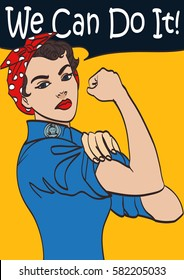 We Can Do It. Vector iconic woman's fist symbol of female power and industry. cartoon woman with can do attitude. Isolated lineart eps 10