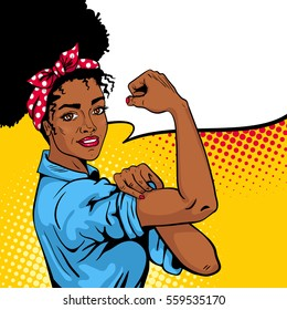We Can Do It poster. Pop art sexy strong african girl with speech bubble. American symbol of female power, woman rights, protest, feminism. Vector bright hand drawn background in retro comic style