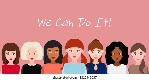 We Can Do It poster. Strong girl. Symbol of female power, woman rights, protest, feminism. Vector illustration
