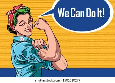 We Can Do It Women with flirty eyes Pop Art Retro Vector Illustration