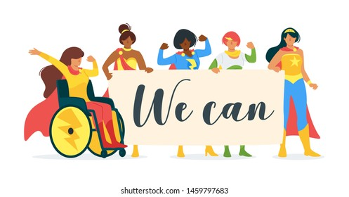 We can inspirational quote minimalist simple banner. Superhuman people, strong superwomen cartoon character illustration. Equality, feminism, womens rights promotion flat vector concept