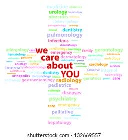 We Care About You Words Surrounded By Medical Specialties Words Cloud