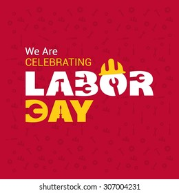 We are celebrating Labor day typography Red background poster template, September 7th, United state of America, American Labor day design. Beautiful USA flag Composition. Labour Day poster design