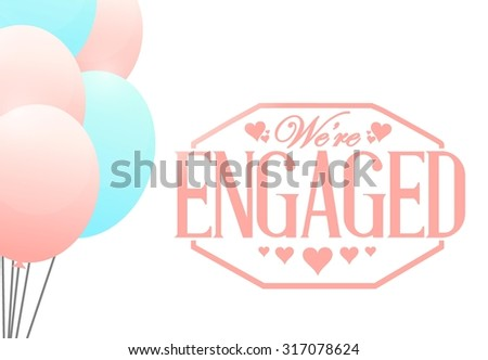 we engaged stamp balloon background illustration stock vector