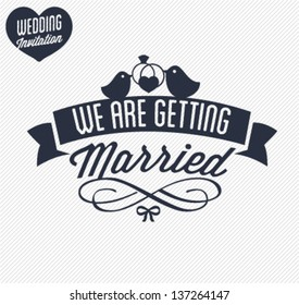 We Are Getting Married Wedding Invitation Card Illustration in Retro Style