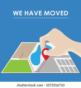 We have moved, changed address. Vector illustration.